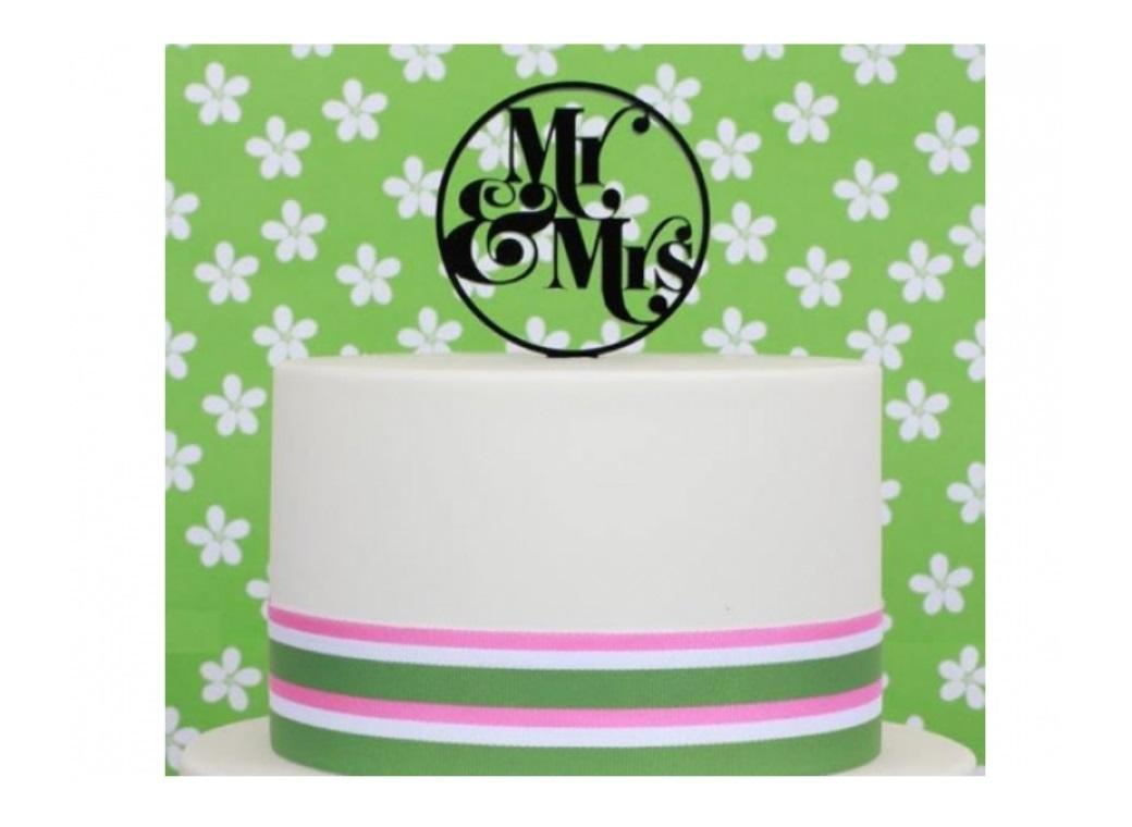 Sugar Crafty Acrylic Cake Topper - Mr & Mrs