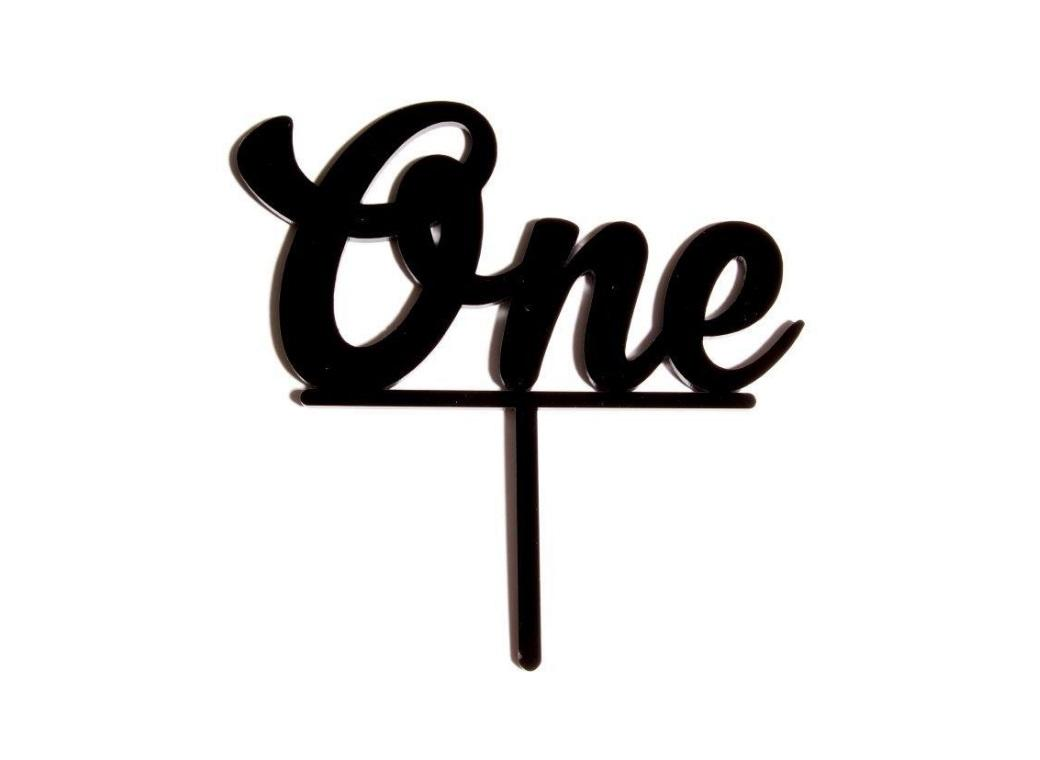 One Cake Topper - Black