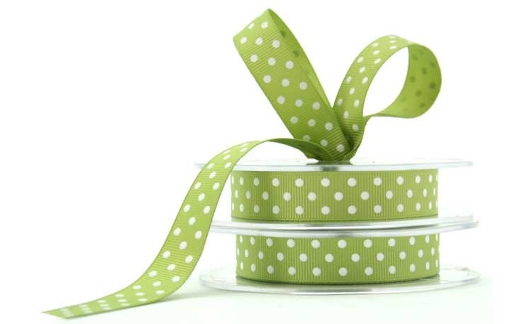 Grosgrain Ribbon Spots - Apple Green & White
