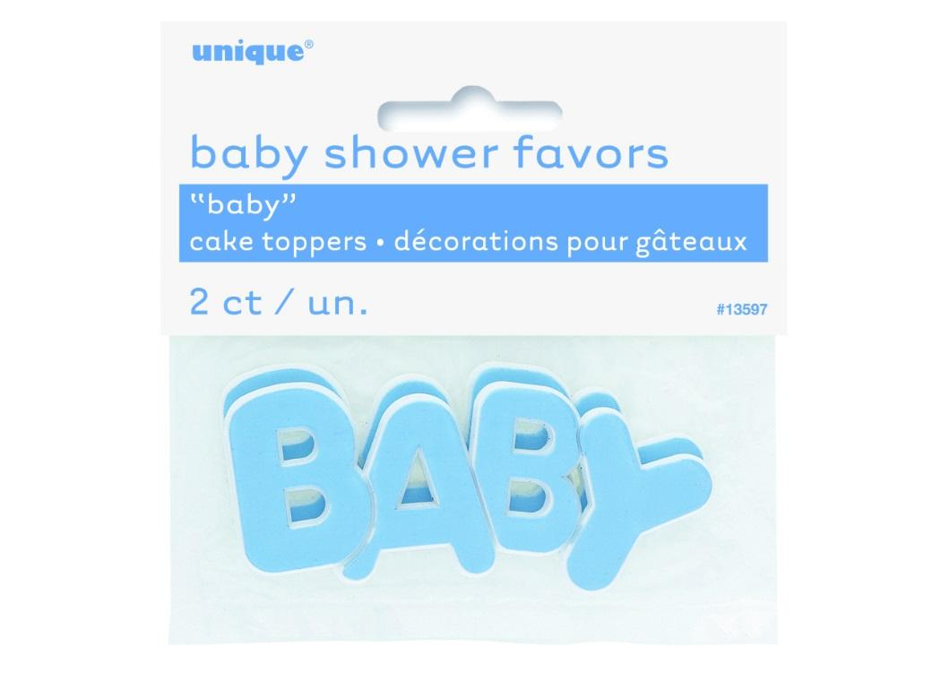 Baby Cake Toppers Blue 2pk
