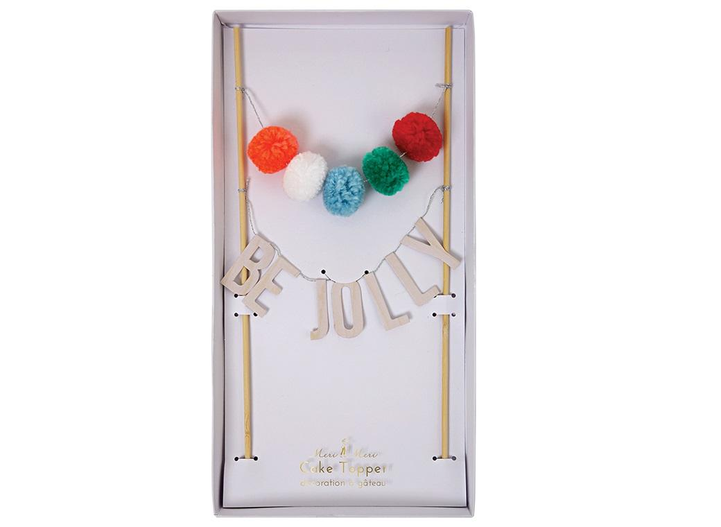 Be Jolly Pom Pom Cake Topper