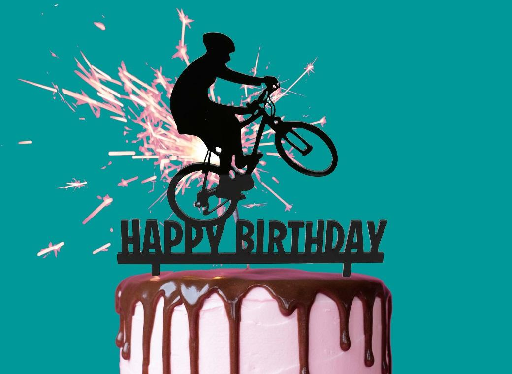 Bike Birthday Cake Topper Black