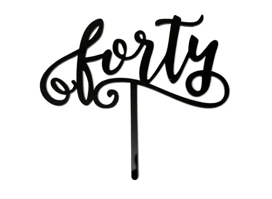 Black Acrylic Cake Topper - Forty