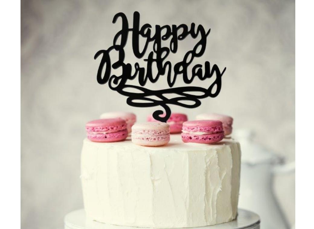 Black Acrylic Cake Topper - Happy Birthday