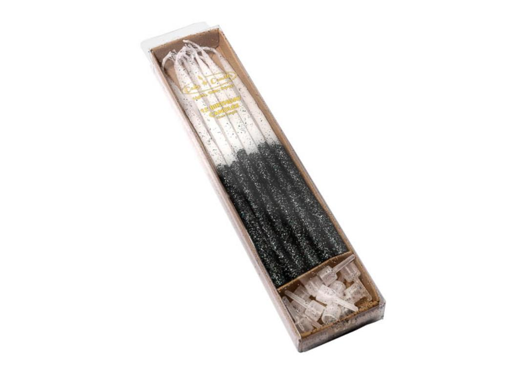 Black Glitter Dipped Candles 12pk