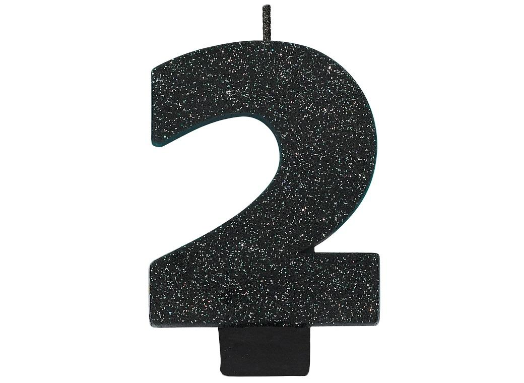 Black Glitter Candle - Number 2
