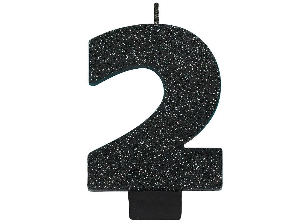 Black Glitter Candle - Number 2