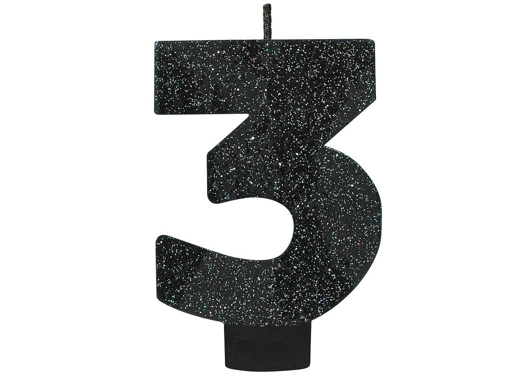 Black Glitter Candle - Number 3