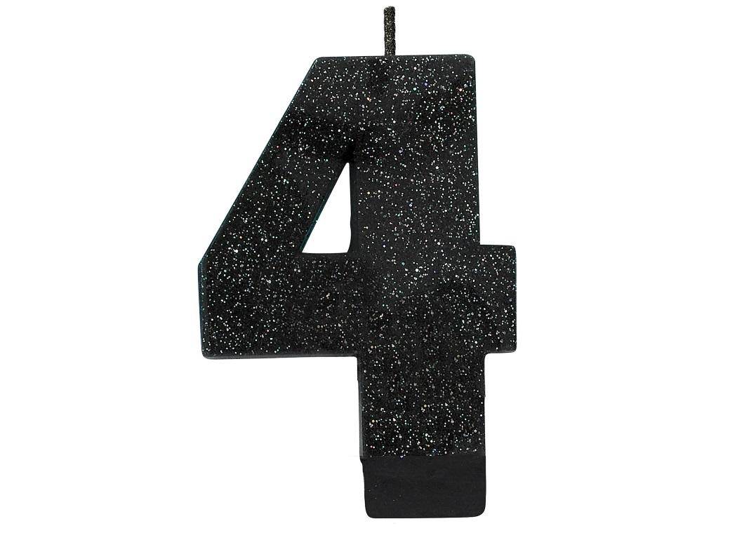 Black Glitter Candle - Number 4