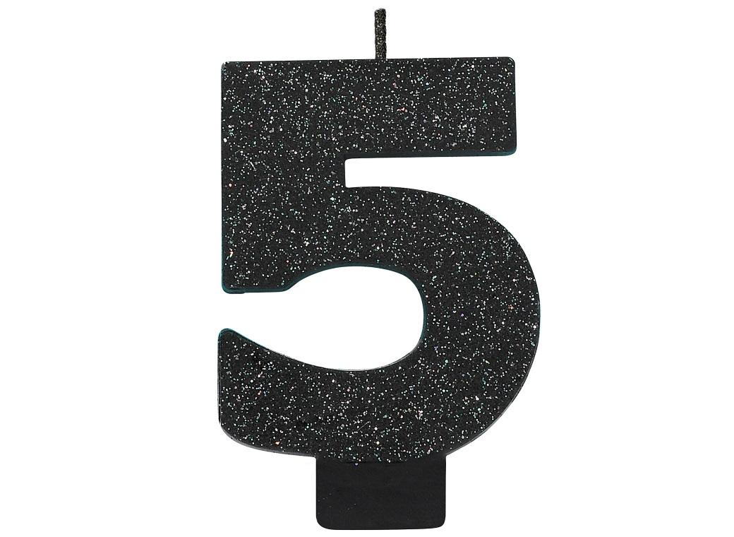 Black Glitter Candle - Number 5