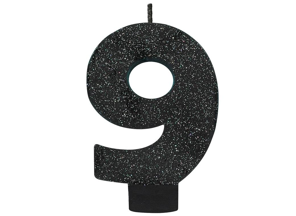 Black Glitter Candle - Number 9