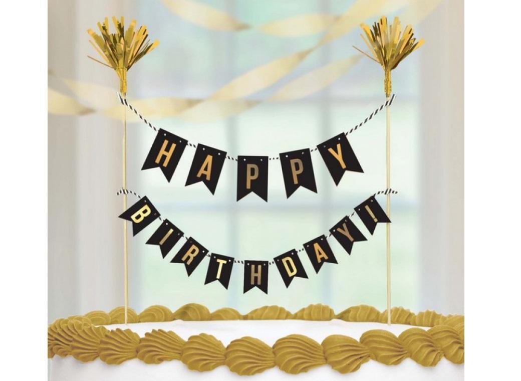 Black Happy Birthday Pennant Cake Topper