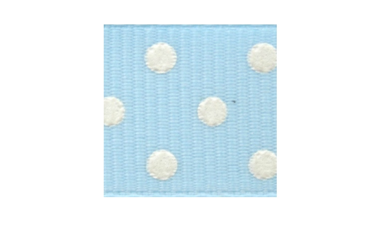 Grosgrain Ribbon Spots - Blue & White