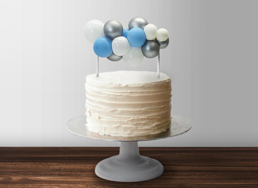 Balloon Garland Cake Topper - Blue & Silver