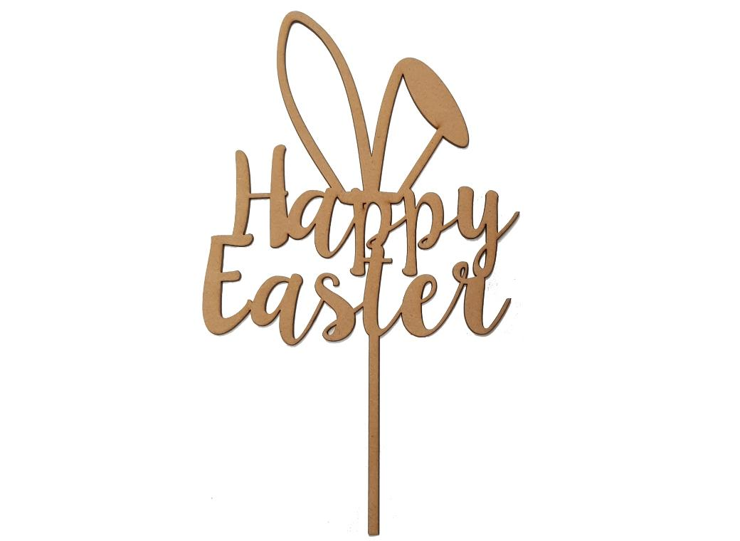 Happy Easter Cake Topper - Wooden
