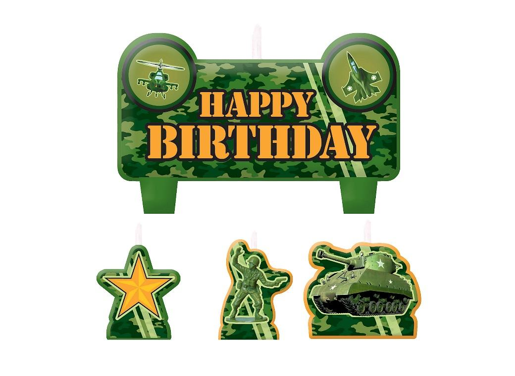 Camouflage Moulded Candles Set