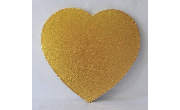 "Cake Board 14mm - 12"" Heart Gold"