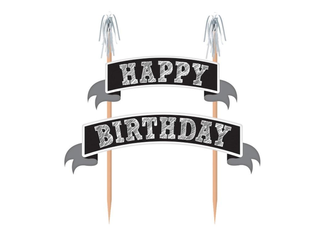 Chalkboard Happy Birthday Banner Cake Topper