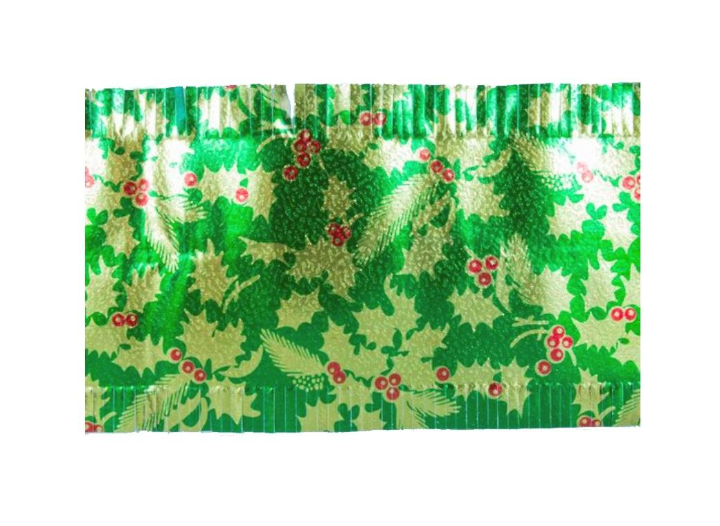 Christmas Cake Frill - Green with Gold Holly