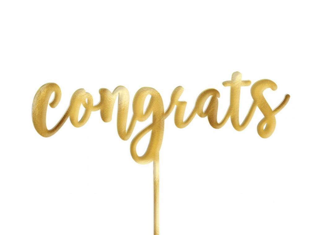 Congrats Cake Topper - Gold Mirror