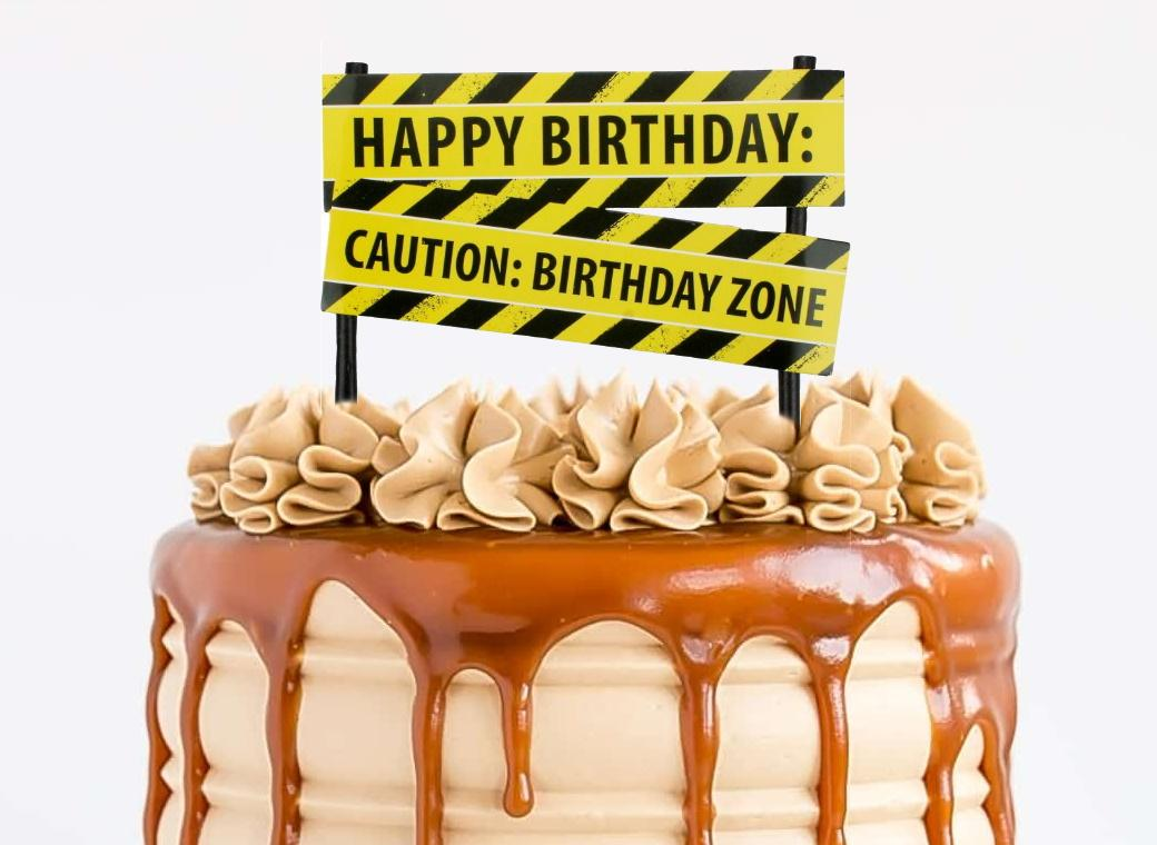 Construction Sign Cake Topper