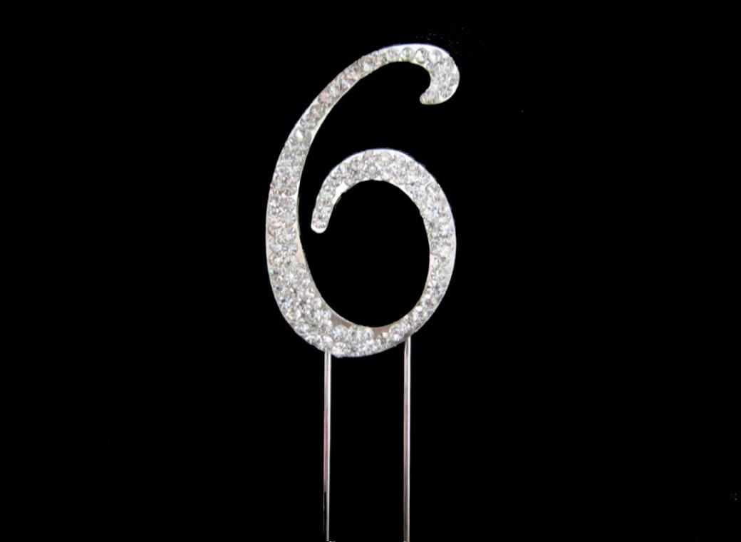 Diamante Cake Topper - Number 6