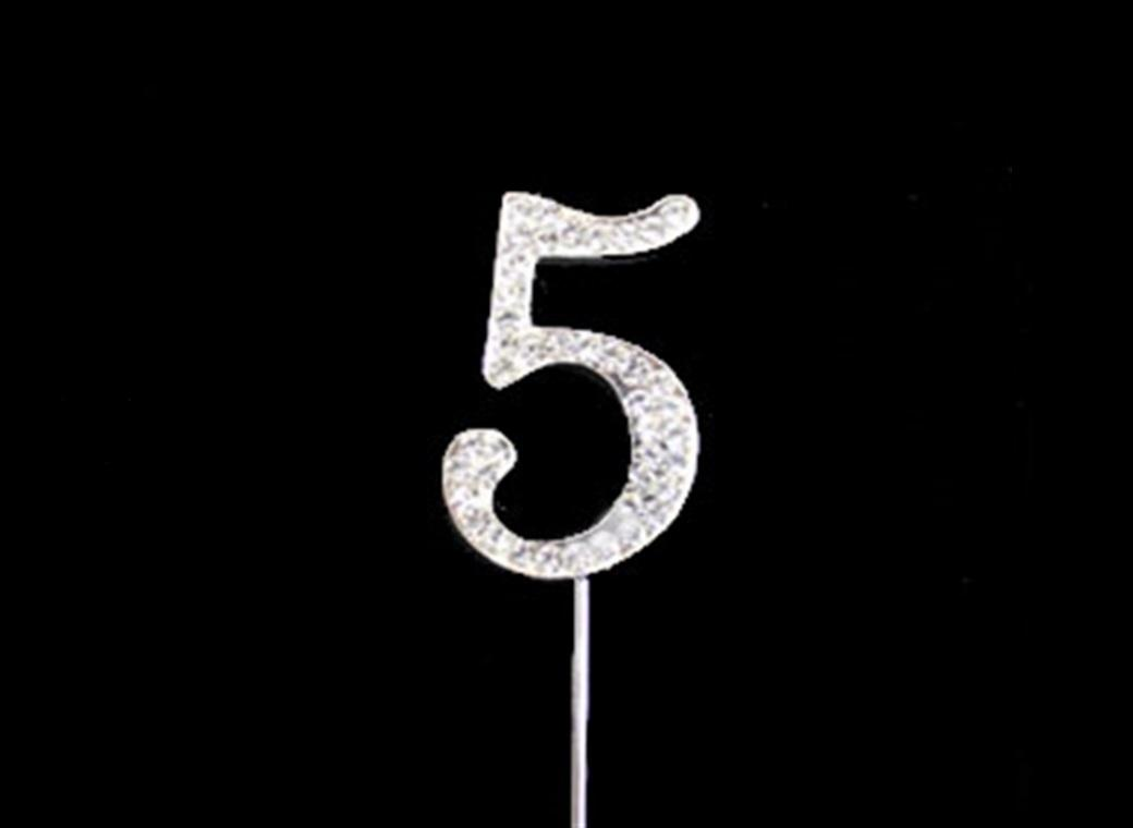 Diamante Cake Topper Small - Number 5