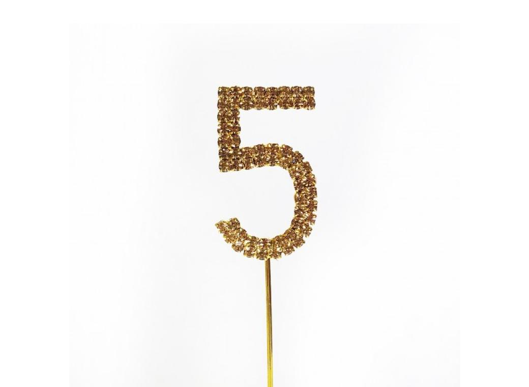Gold Diamante Cake Topper Small - Number 5
