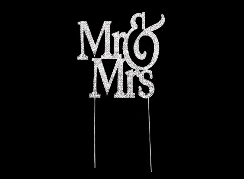 Diamante Cake Topper - Mr&Mrs