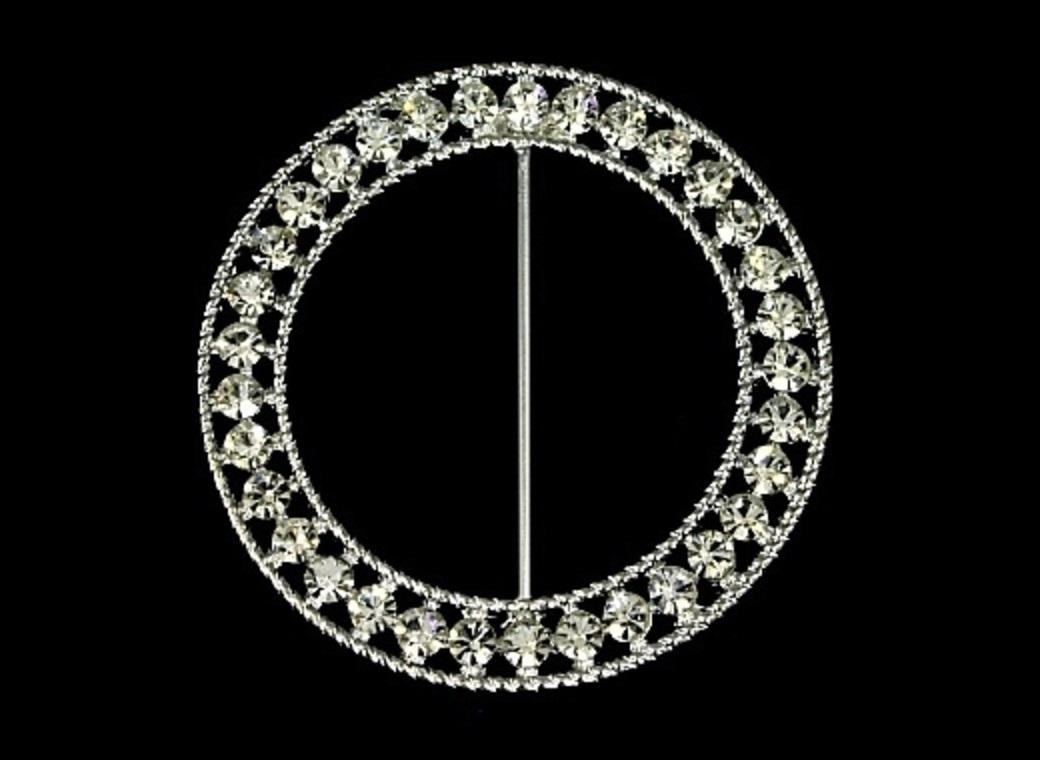 Diamante Sash Buckle - Fancy Round