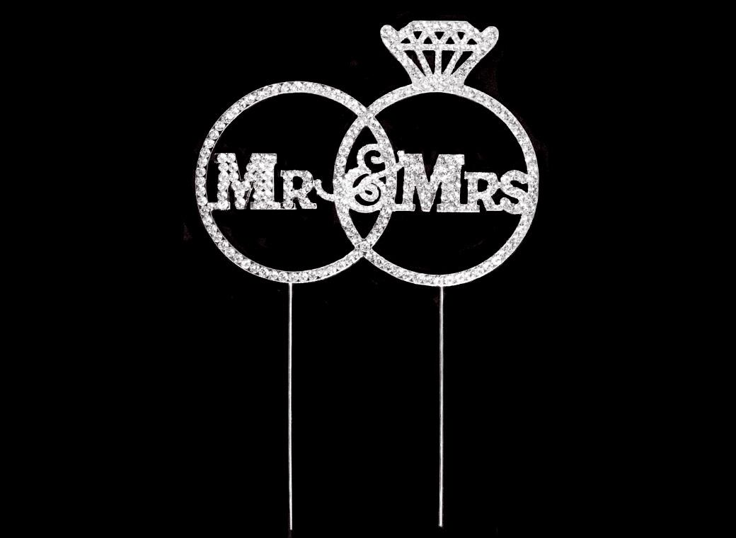 Diamante Topper - Mr & Mrs in Ring
