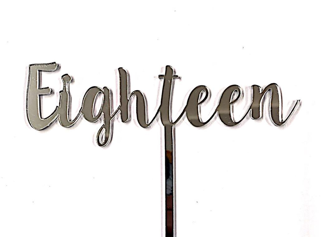 Eighteen Cake Topper - Silver Mirror