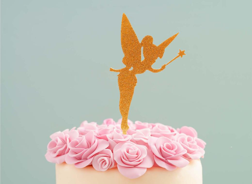 Fairy Cake Topper - Gold Glitter