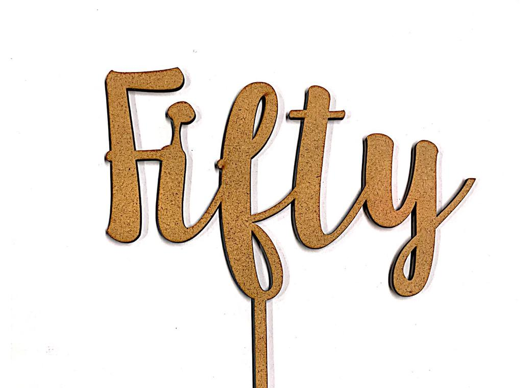 Fifty Cake Topper - Wood