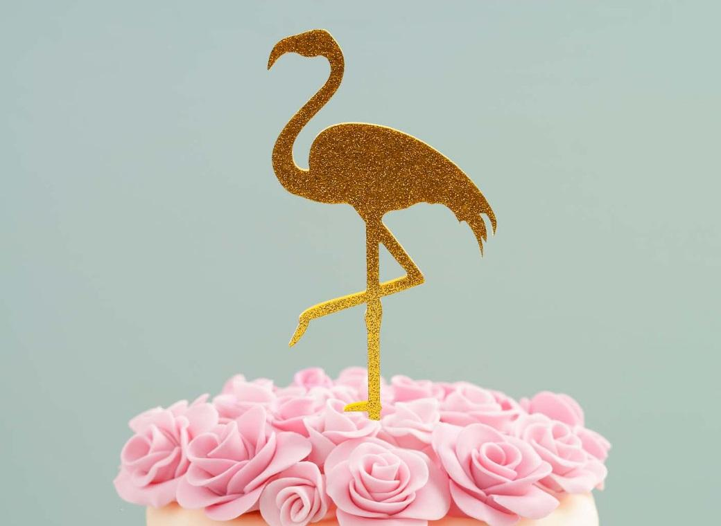 Flamingo Cake Topper Gold