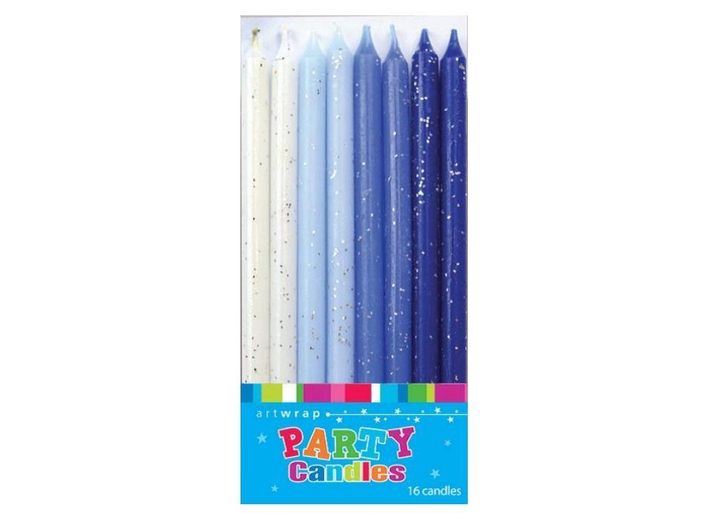 Blue Glitter Candles 16pk