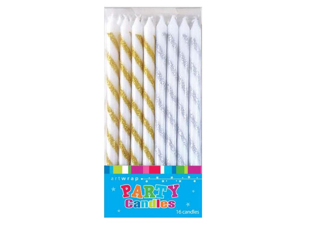 Glitter Striped Candles 16pk