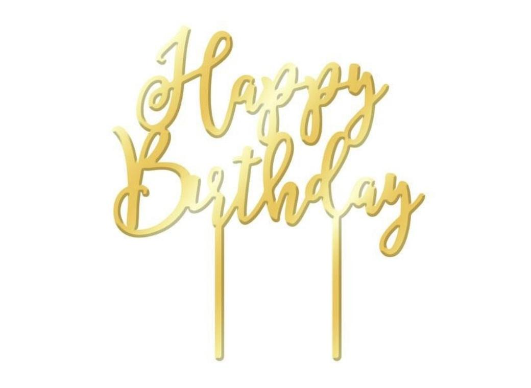 Happy Birthday Cake Topper - Gold Mirror