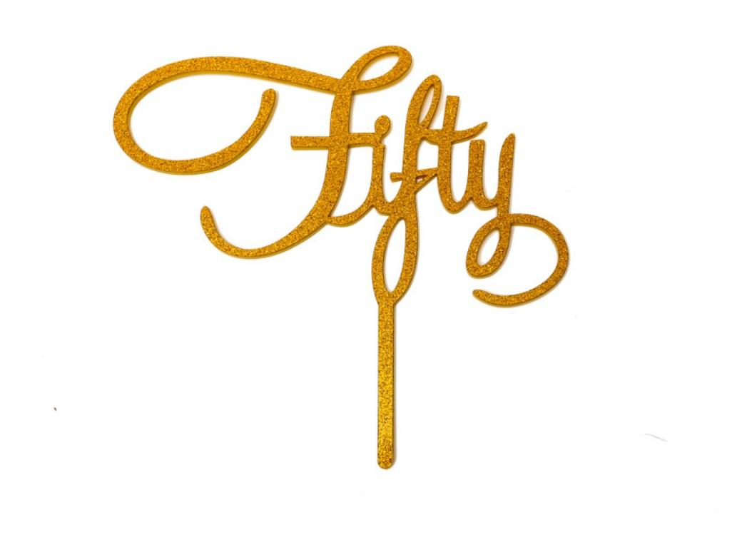 Gold Glitter Acrylic Cake Topper - Fifty
