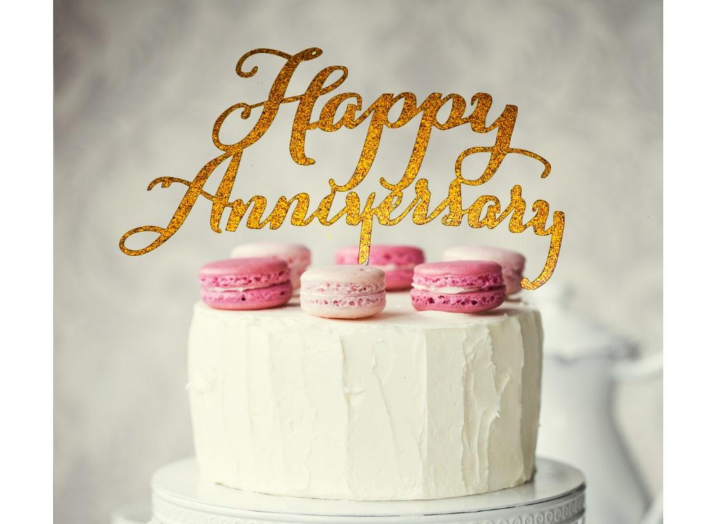 Happy Anniversary Cake Topper - Gold Glitter