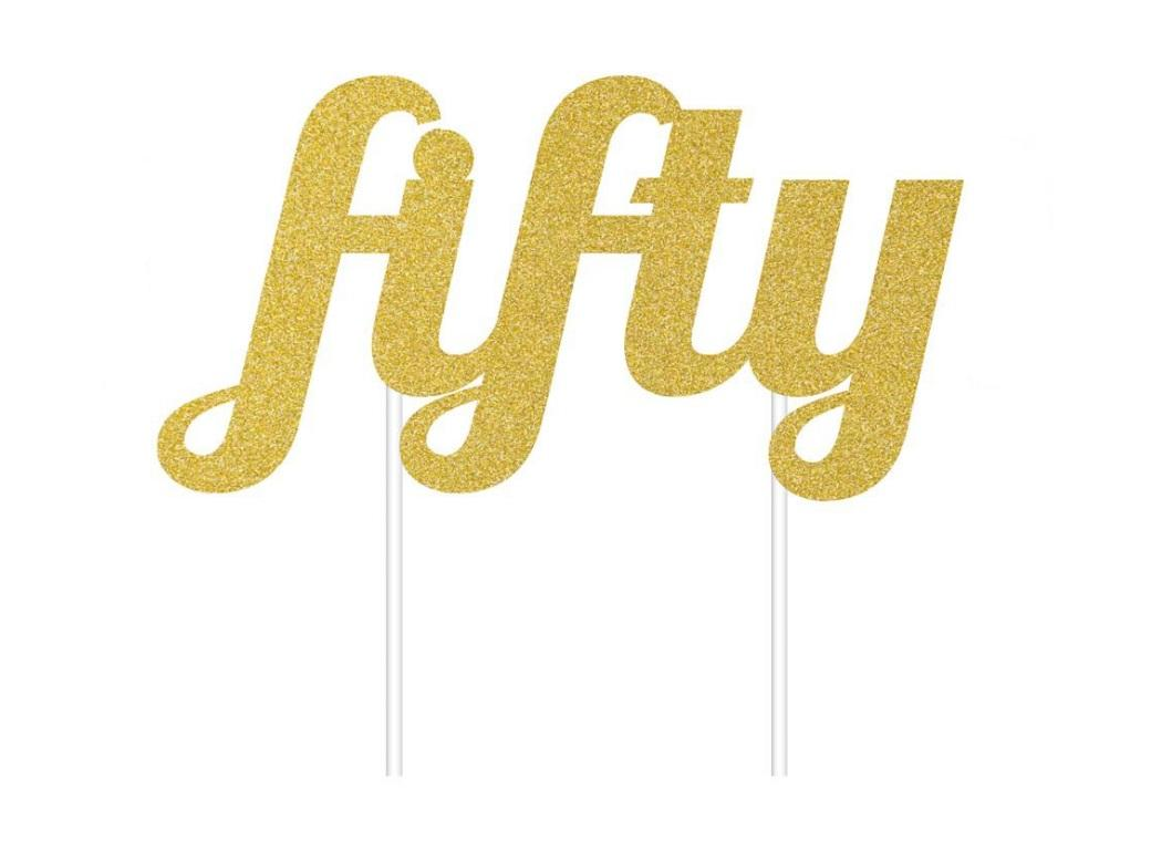 Gold Glitter Cake Topper - Fifty