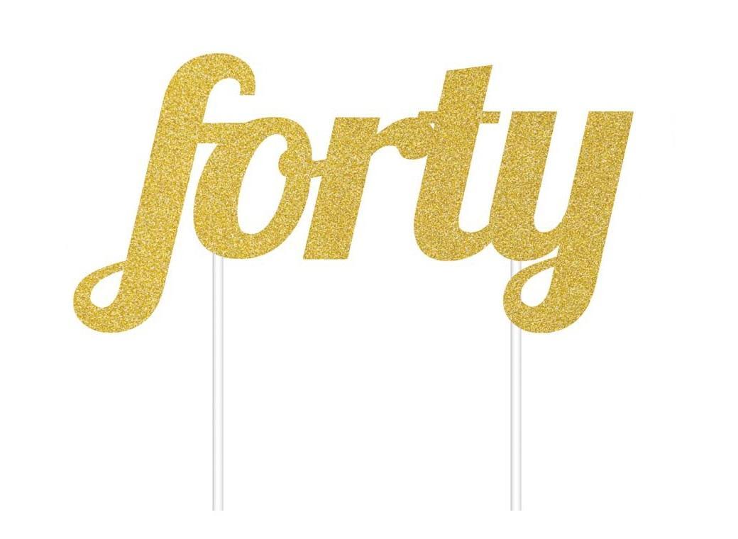 Gold Glitter Cake Topper - Forty