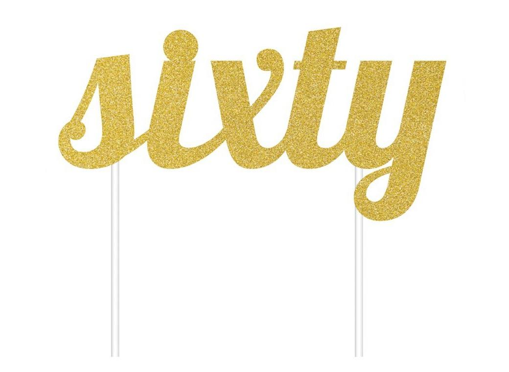 Gold Glitter Cake Topper - Sixty