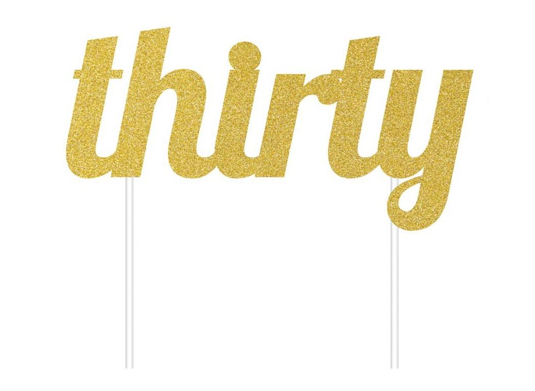 Gold Glitter Cake Topper - Thirty
