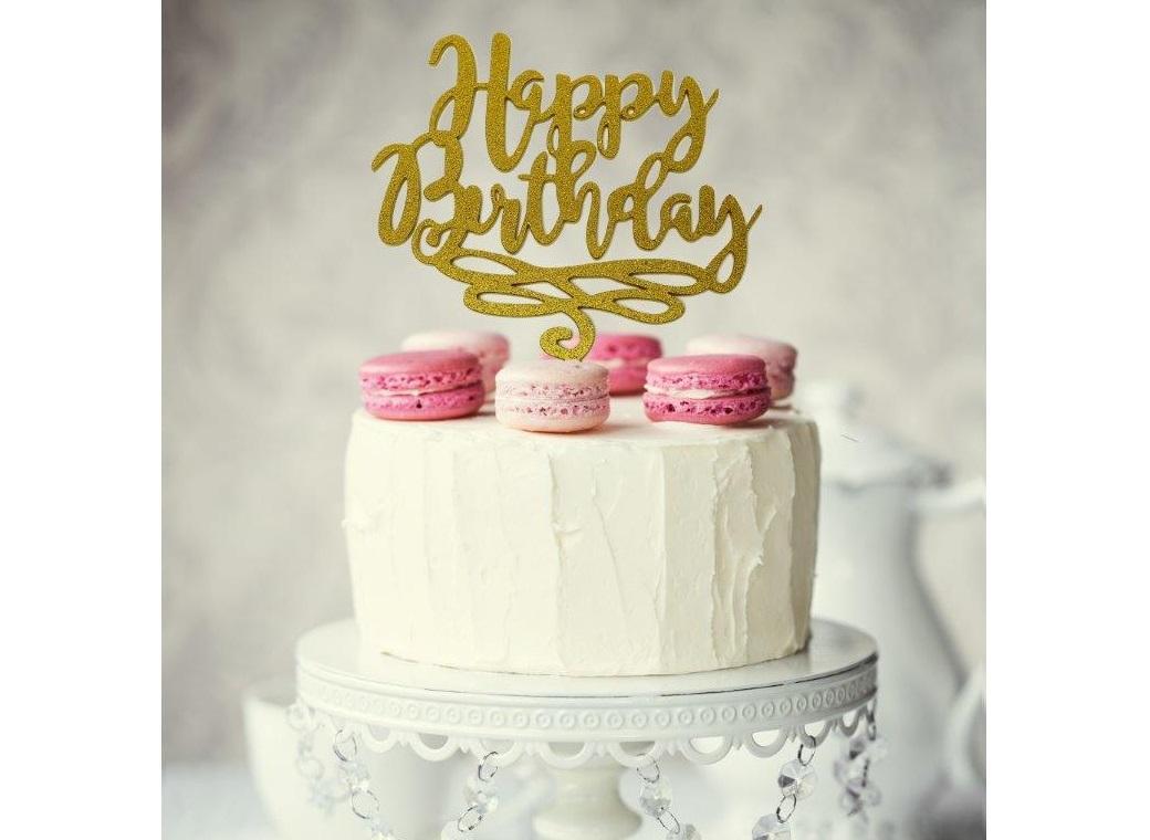 Happy Birthday Cake Topper - Gold Glitter