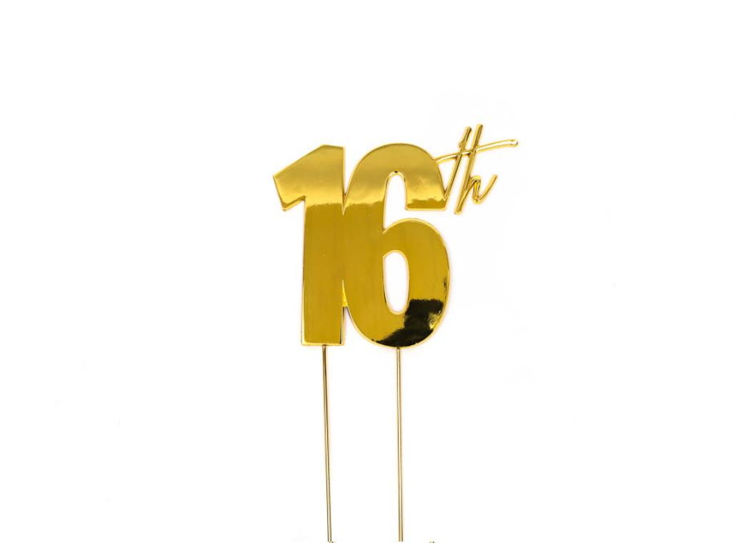 Gold Metal Cake Topper - 16th