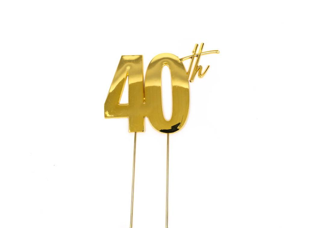 Gold Metal Cake Topper - 40th