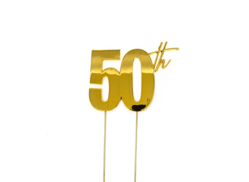 Gold Metal Cake Topper - 50th