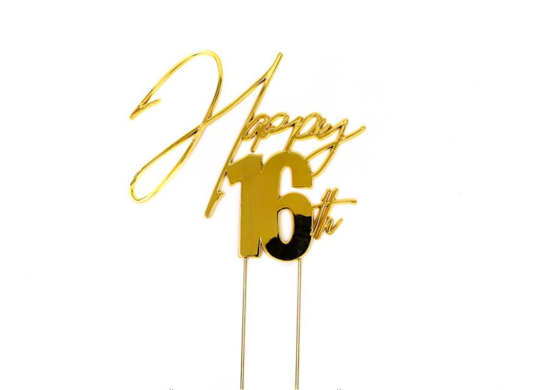 Gold Metal Cake Topper - Happy 16th