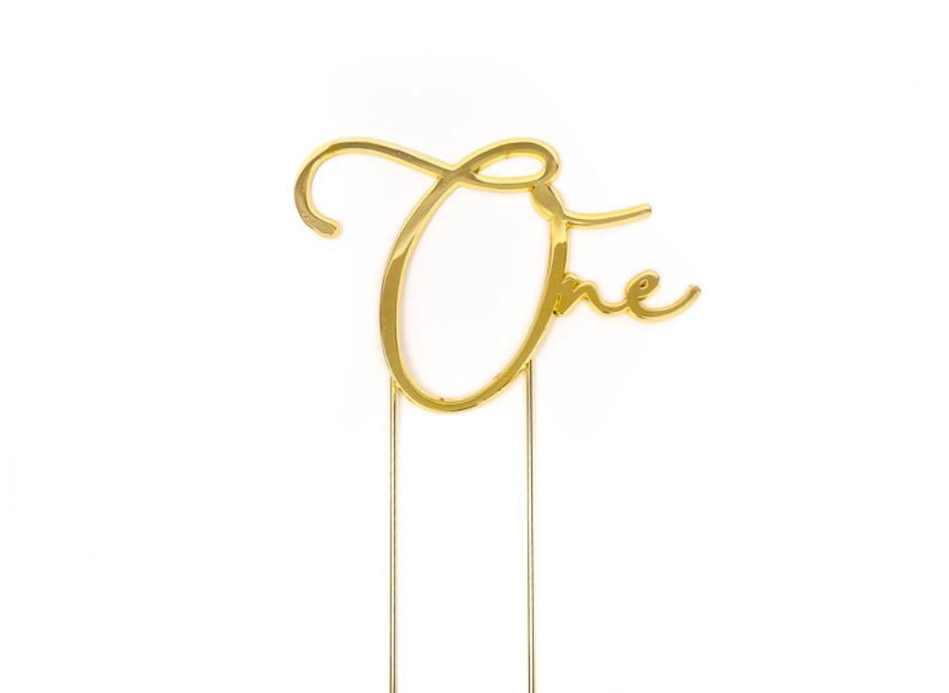 Gold Metal Cake Topper - One